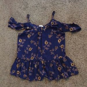 Navy blue with flowers shirt